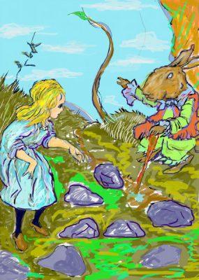不思議の国のアリスをネタに描いたアクリル画