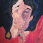 粕川を描いたアクリル画の自画像