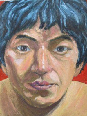 粕川の油彩の自画像