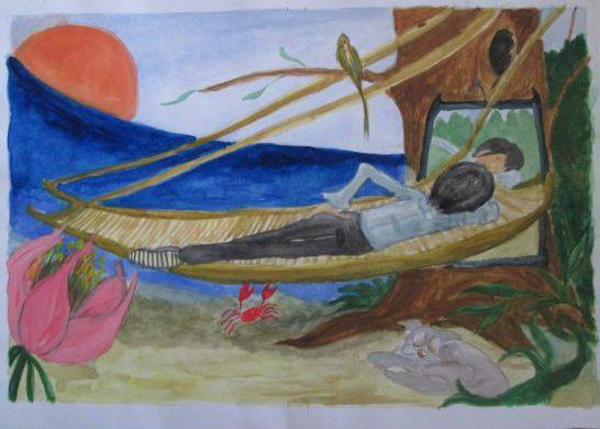 横になる粕川のイラスト