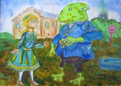 不思議の国のアリスの世界を描いたアクリル画