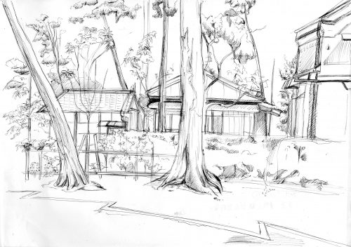 風景をペンで描いた画像