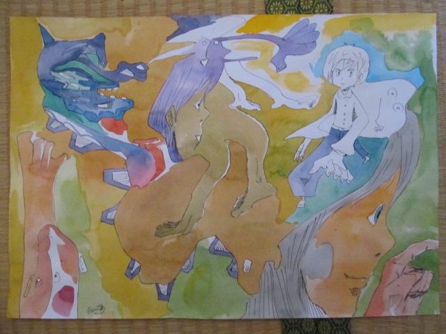粕川が描いた抽象画の画像