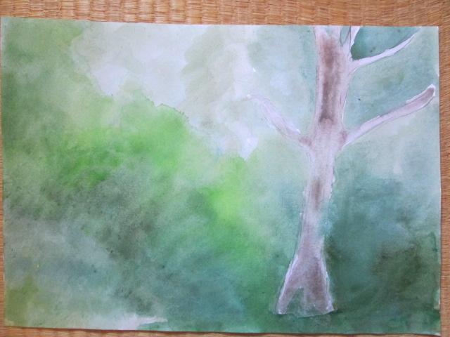 感覚で絵を描いた森の抽象画の画像