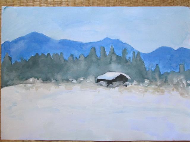感覚で描いた雪景色の絵