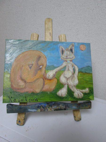 大地より生えたる者とチッティがいる油絵の画像