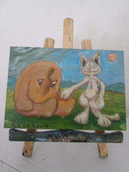 猫のチッティがはえたる者を励ます油絵