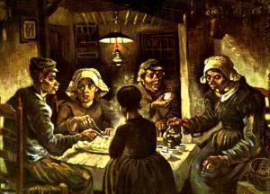 馬鈴薯を食べる人々の画像