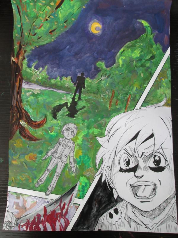 漫画とアートを融合して恐怖をテーマに描いた絵