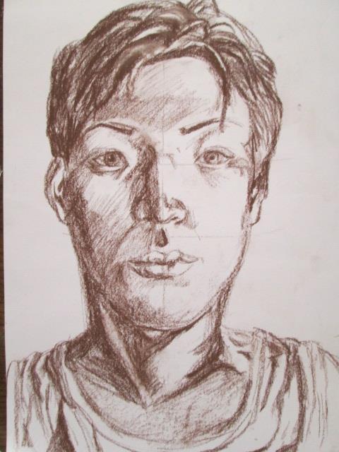 自画像を描いた素描