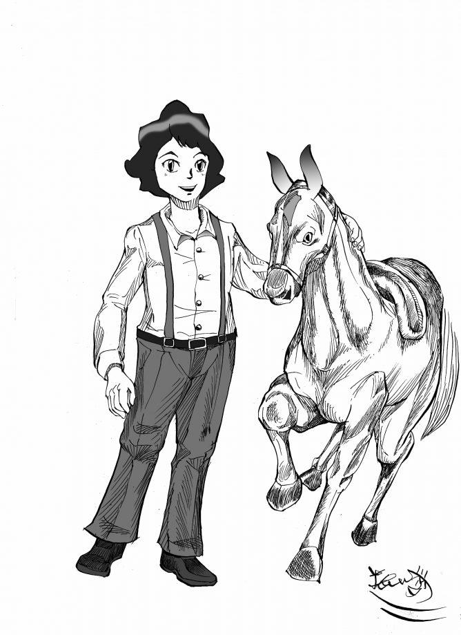 丸ペンの線 バートと馬