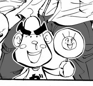 四コマ漫画 絵の重なり 白抜き