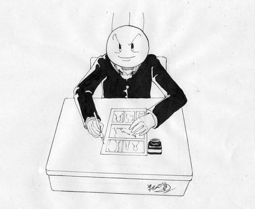 バカオが漫画を描いてるイラスト