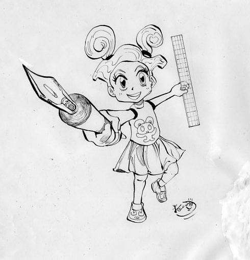 少女が漫画道具を持つイラスト