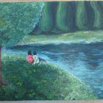 幻想の森幻想の森にたたずむ男女の油絵