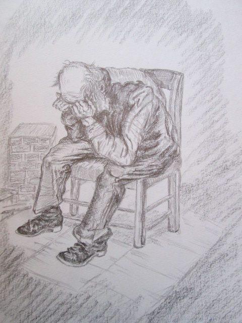 ゴッホの描いた絵を模写したデッサン