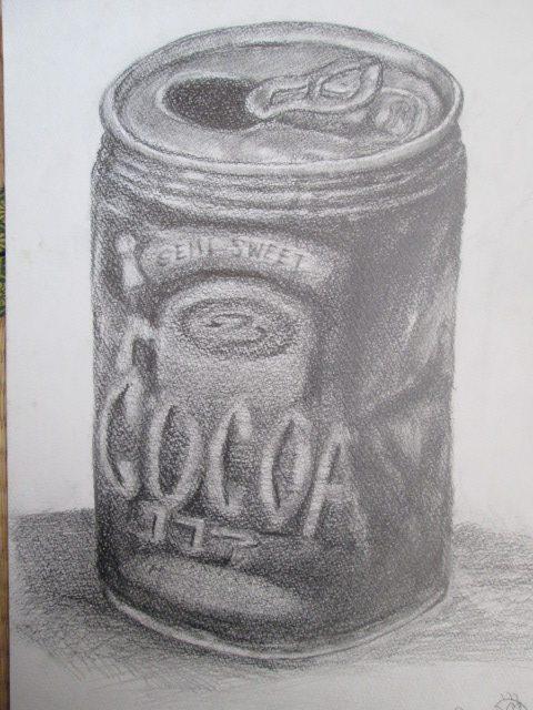 缶のデッサン 鉛筆+木炭