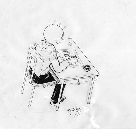 バカオが机に座っているイラスト