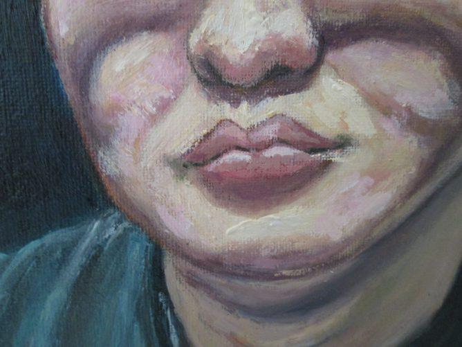 友人の顔を描いた肖像画の画像
