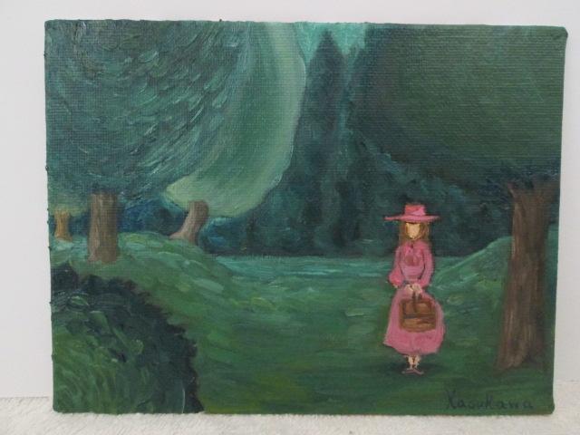 「幻想の森にたたずむ少女」油彩