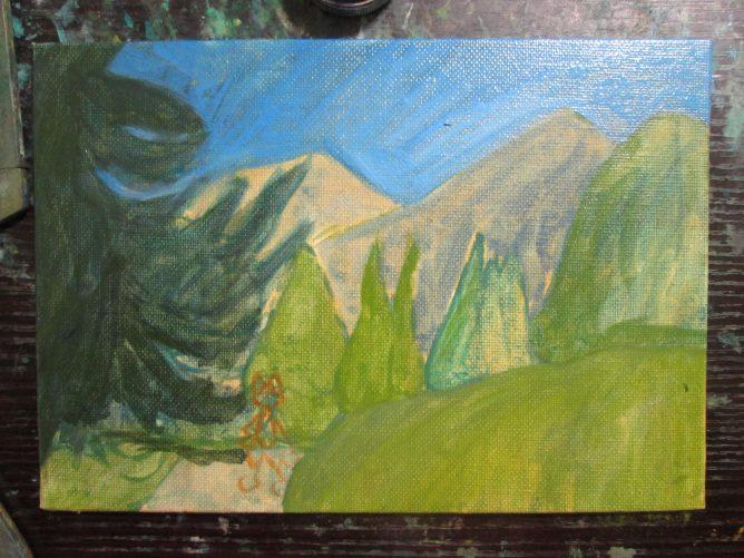 幻想の森の習作,油彩