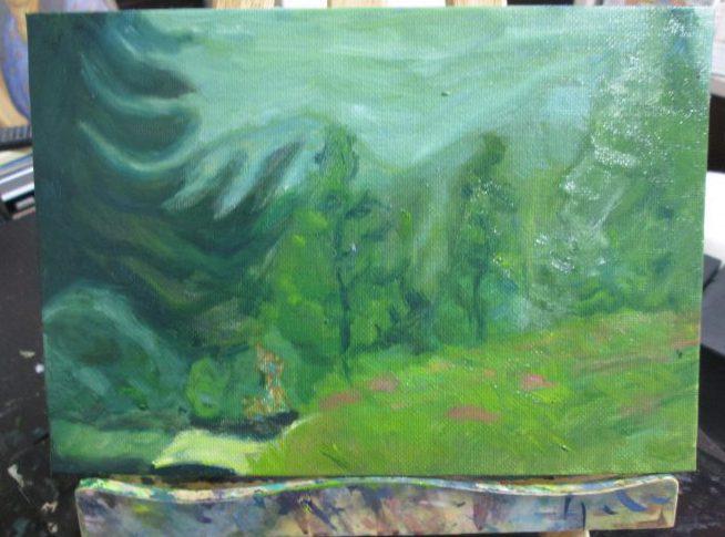 幻想の森の習作 油彩