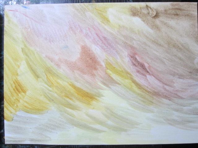 キャンバスに少し色が塗ってある画像