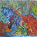 抽象画を描いた油絵