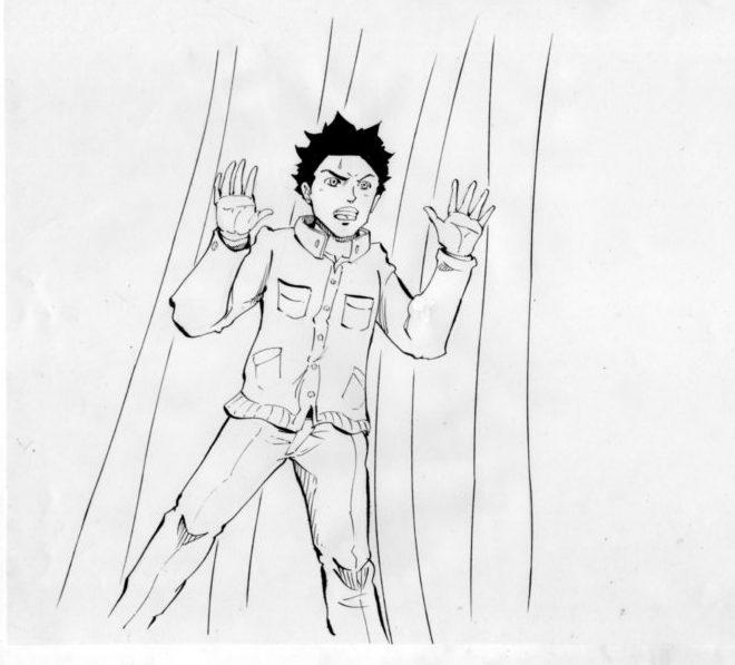 牢屋の中にいる青年のイラスト画像