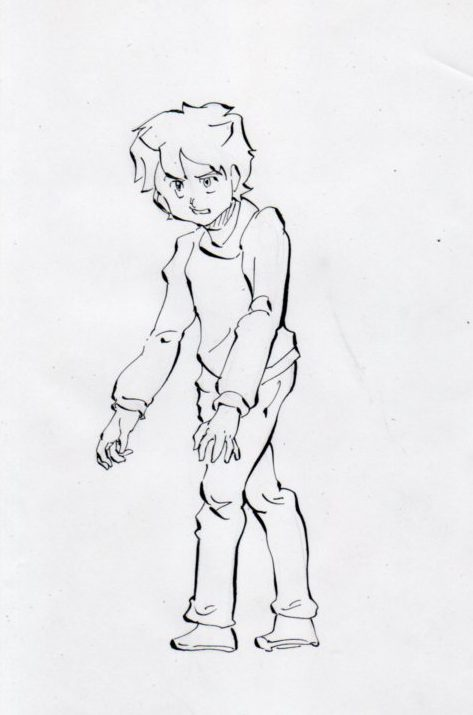 歩く少年のイラスト画像