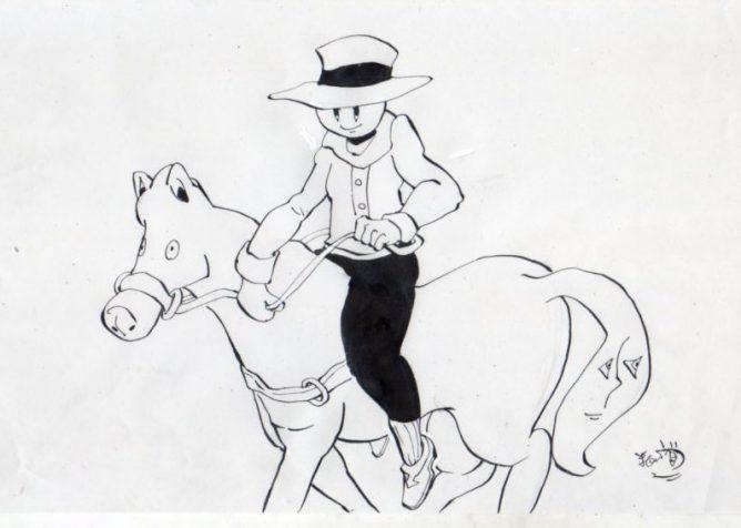 バカオが馬に乗っているイラスト画像