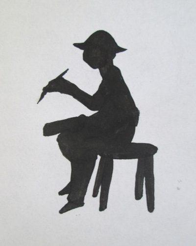 画家のシルエットを描いたイラスト