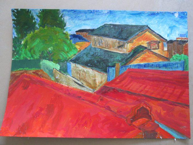 窓から見える風景を描いた絵画