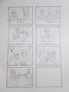 四コマ漫画の下描き画像