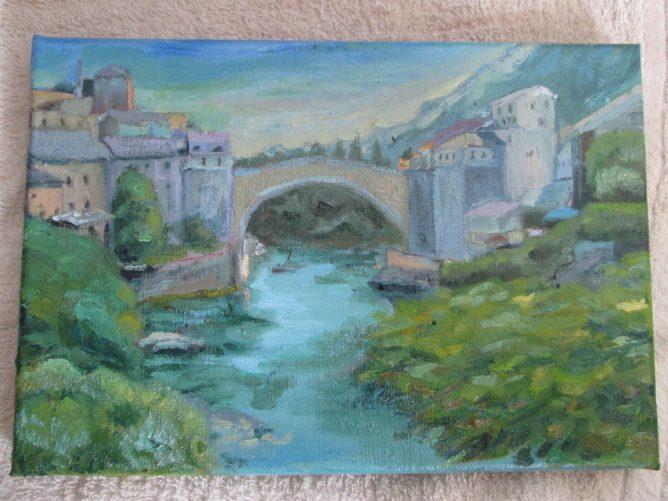 川と橋のある油絵の画像