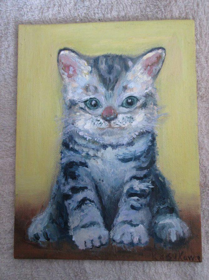 子猫を描いた油絵