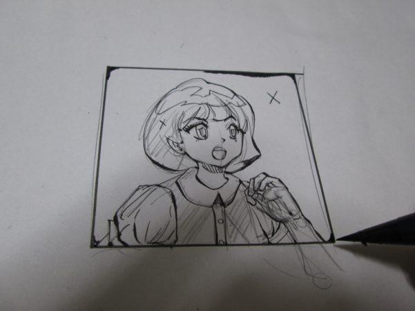 角を軽くベタ塗りしてある女性のイラスト画像