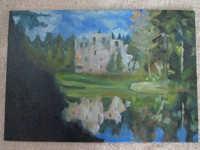 城や森を描いた油絵