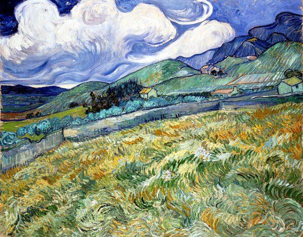 ゴッホの描いた麦畑の油絵