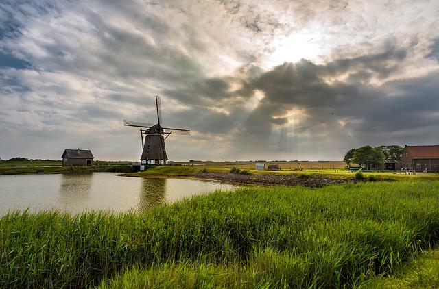 風車のある景色の画像
