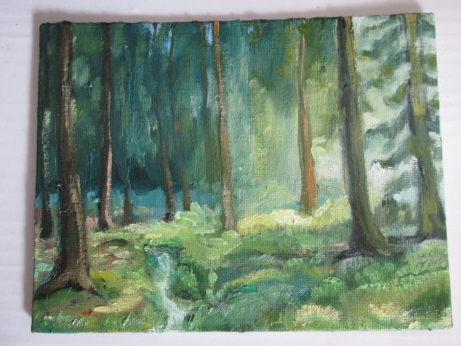 森を描いた油彩画