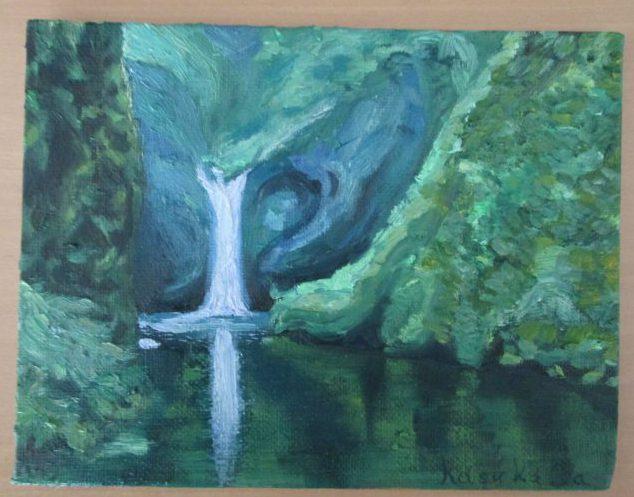 油彩,滝の絵
