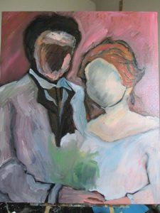油絵の下塗りがしてある画像