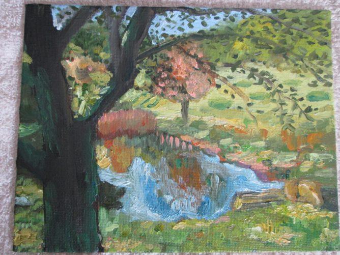 即興で描いた油絵アート