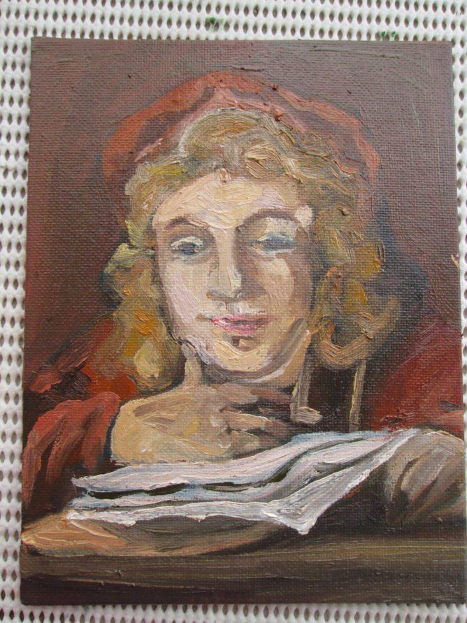 レンブラントの絵をマネして描いた油彩画