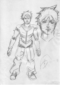 漫画キャラクターの全身が描かれている画像