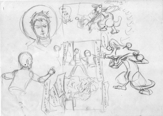 四コマ漫画のアイデアを出すためのラフ画の画像