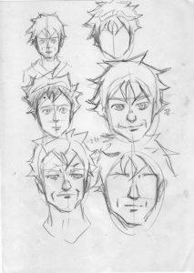 キャラクターの表情が描いてある画像