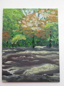 森の中を描いた油彩画