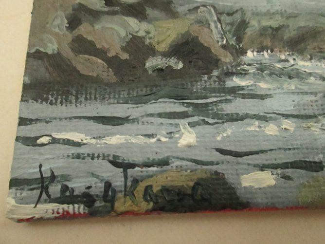 即興で描いた岩場の油絵の画像